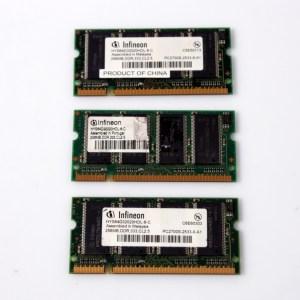 3x Infineon Laptop Memory 3x256MB=768MB HYS64D32020HDL-6-C DDR PC2700 333MHZ