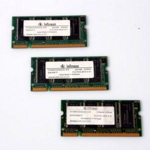 3x Infineon Laptop RAM 3x256 HYS64D32020GDL-6-B DDR PC2700 333MHz