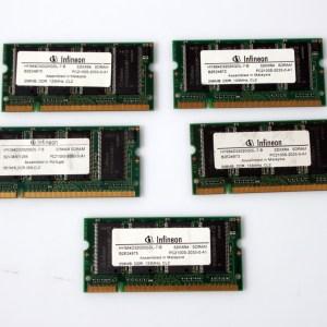 5x Infineon Laptop RAM 5x256 HYS64D32020GDL-7-B Dell Latitude D800 DDR PC2100 133MHz