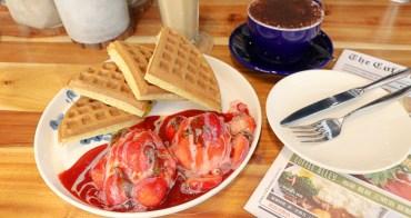 台中咖啡廳|咖啡弄Coffee Alley,台中西區咖啡輕食館推薦草莓冰淇淋鬆餅,金典綠園道內、遇見貓特展