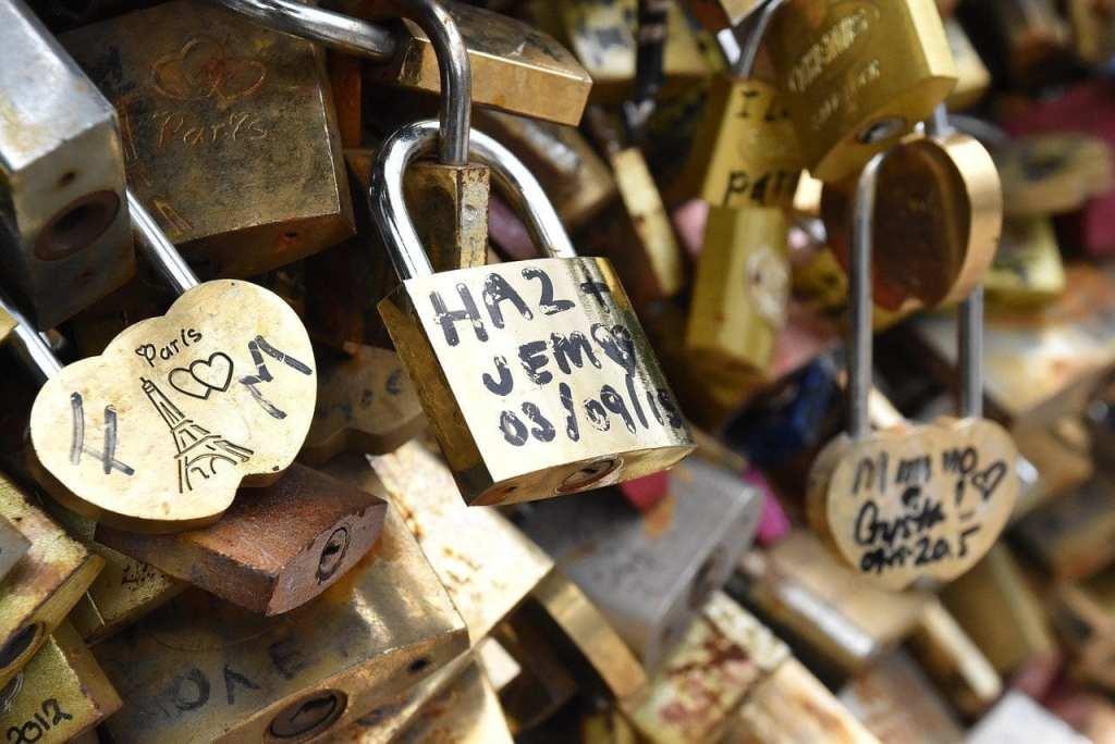 Locks of Love Bridge in Paris, France