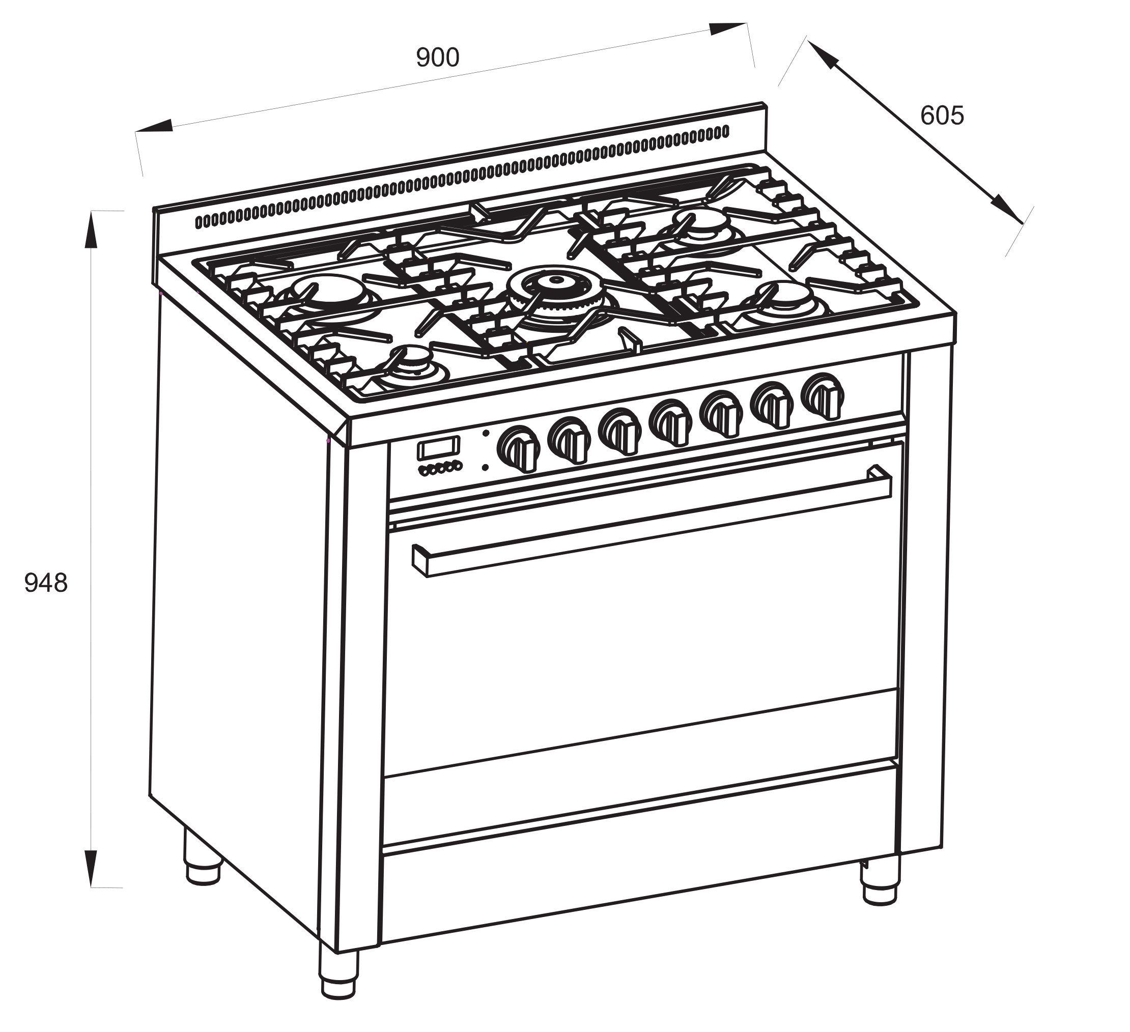 Multifunction Freestanding Dual Fuel Oven 90cm Ofs