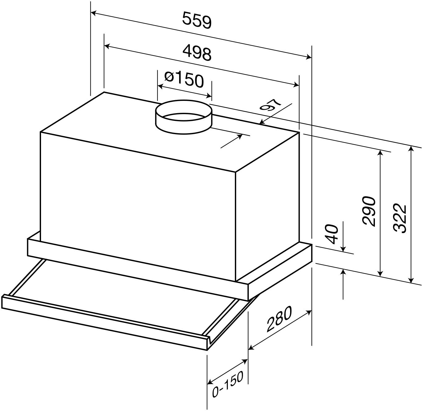 Concealed Slide Out Rangehood 60cm Rhsog60 Ikon Commercial