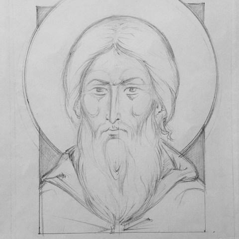 Venerable Serge de Radonège, dessin au crayon