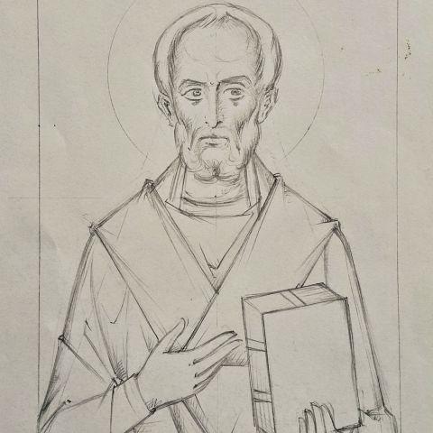 Saint Nicolas de Myre, dessin au crayon