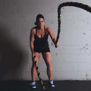 Women strength training ropes mobile version