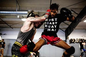 Wes Argrow sparring with a fellow Muay Thai fighter