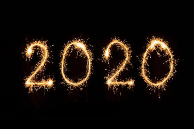 2020 written in sparklers
