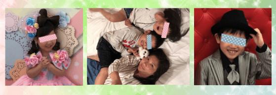 男児と女児の写真の間に,家族の写真