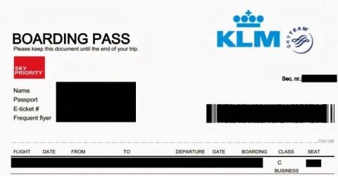 KLM Skypriority boardingpass