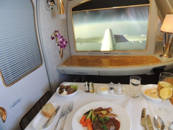 Emirates First Class menu