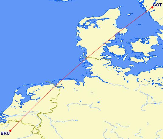 Rechtstreek van Brussel naar Gotenborg