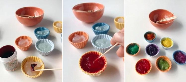 שלב שלישי בהכנת צבע אצבעות לילדים.