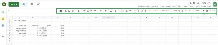 אפשרויות עיצוב ב- Google Sheets.