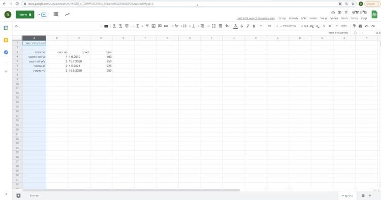 בחירת עמודה ב- Google Sheets