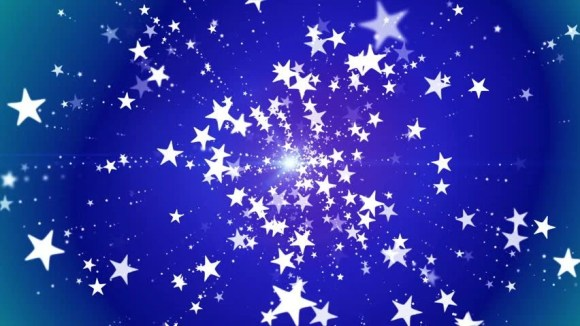 White Stars Continuously Fall Against A Blue Background ...