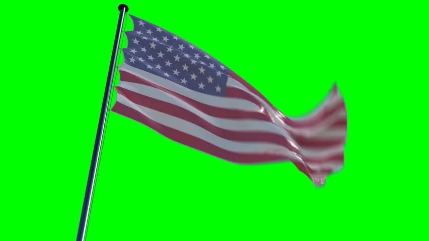 American Flag Waving On Green Screen Background. Stock