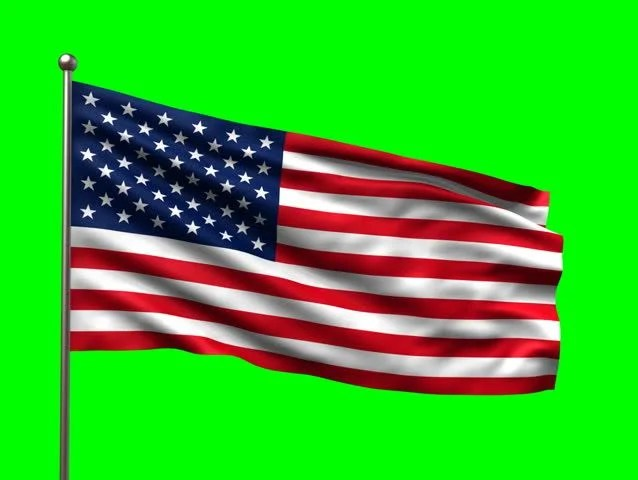 USA Flag With Greenscreen And Alpha. Ready To Use