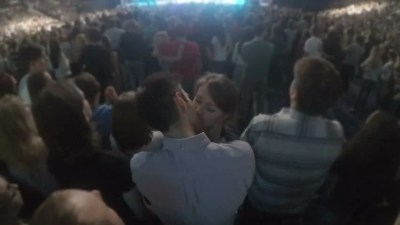 Image result for kissing in crowd