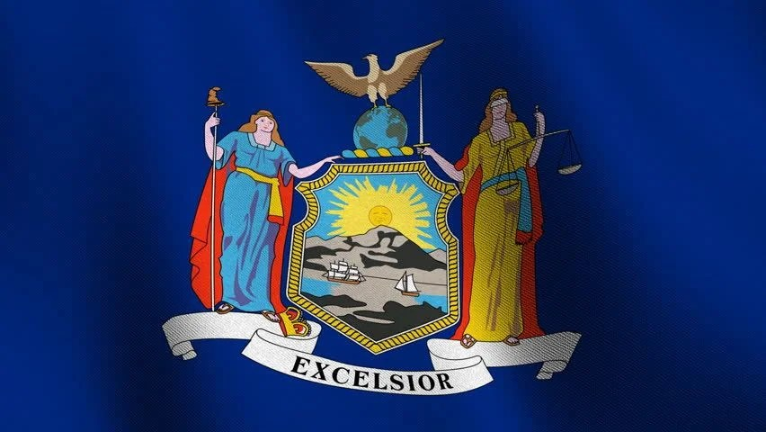 The prominent feature of new york's state flag is the state's coat of arms, which has significant symbolism in its design. New York State Flag Waving Stock Footage Video 2767634 ...