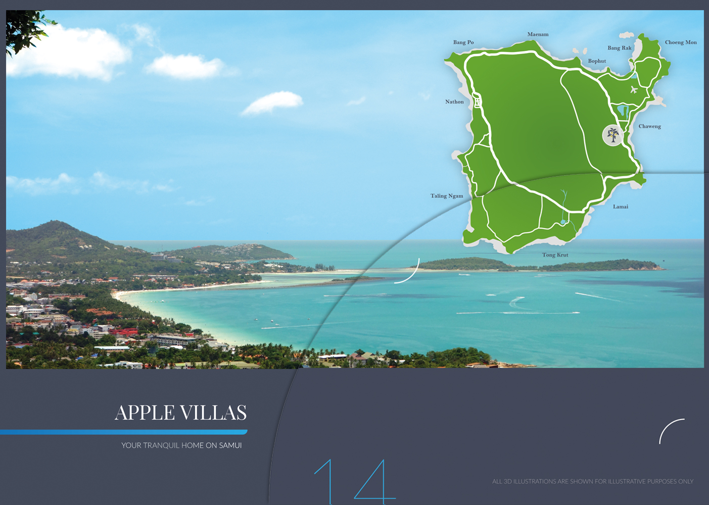 Apple Villas brochure design and printing on Koh Samui