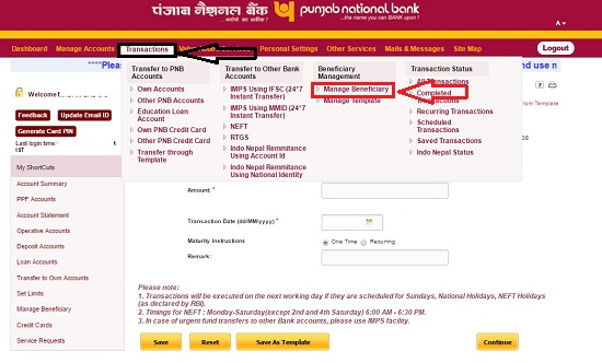 PNB Manage Beneficiary