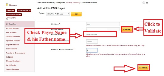 PNB add Payee