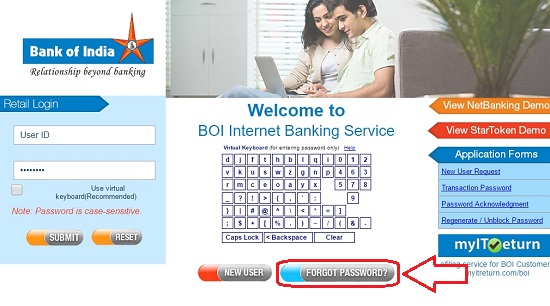 Resetting Forgot BOI Net Banking Login and Transaction Password