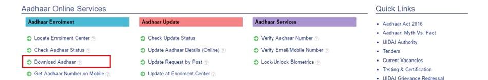 Download Aadhaar Card with Aadhaar Number