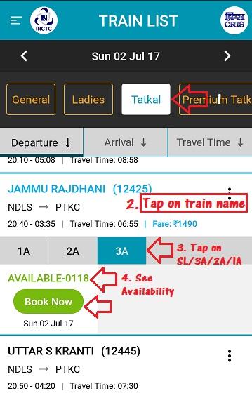 IRCTC tatkal ticket booking online