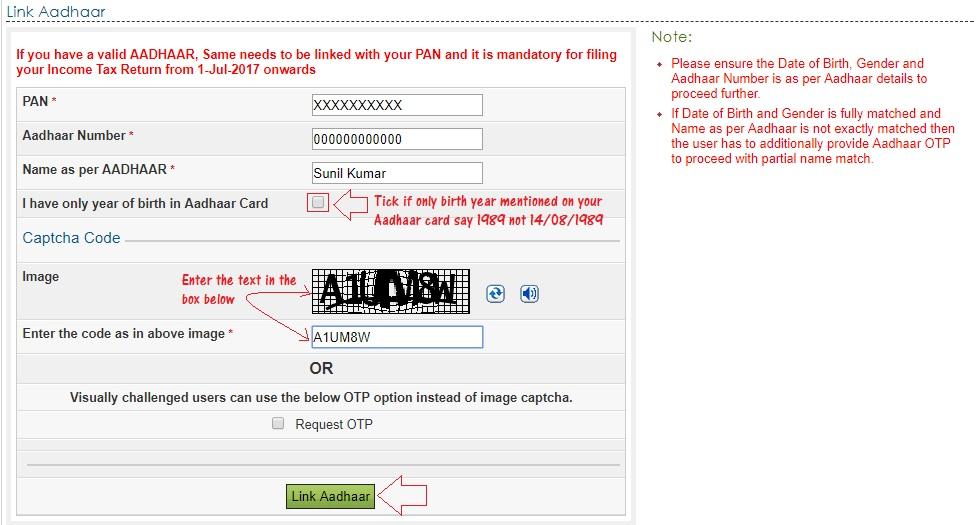 Link aadhaar card to pan online