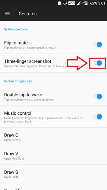 oneplus 5 tips and tricks - three finger screenshot