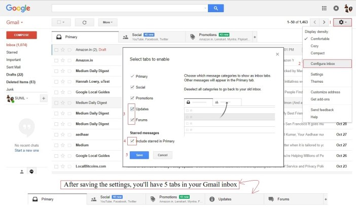 Gmail add more tabs - gmail tips