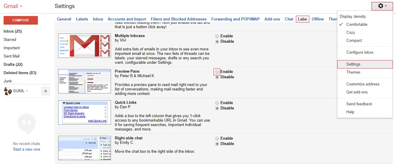 gmail preview pane - gmail tips