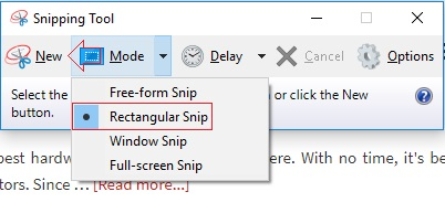 snippig tool take screenshots in windows