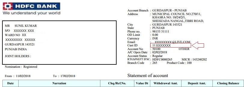 hdfc bank customer id on account statement