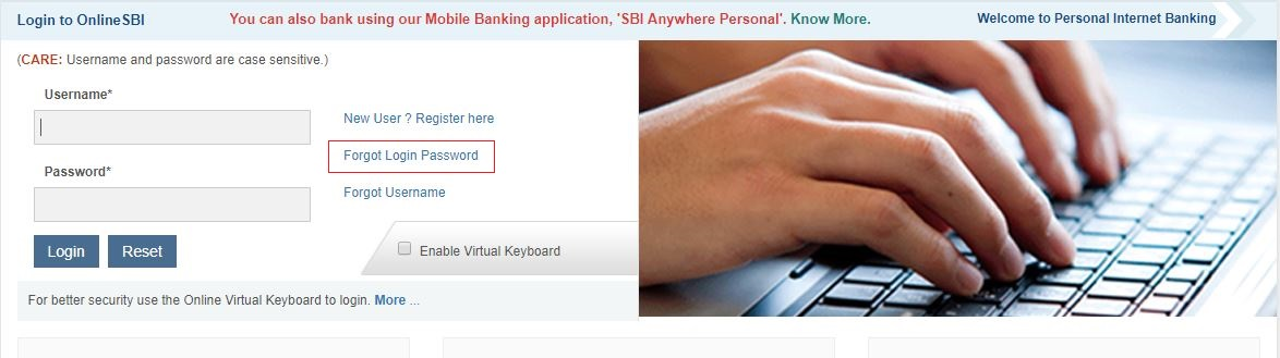 reset sbi netbanking password using atm details