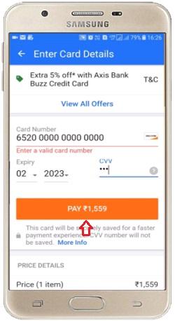 payment on flipkart online shopping app