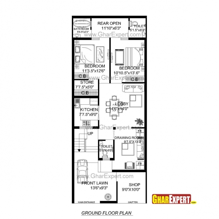15 X 60 South Facing House Plans 10 Best Lay Plan 15 60