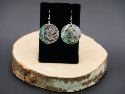 Medium Circle Abalone Earrings