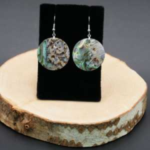 Medium Circle Abalone Earrings
