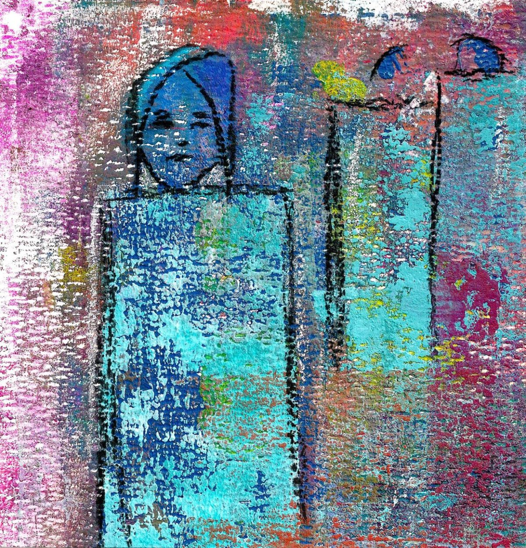 Efeito inesperado na pintura feita em papel especial para mixed media