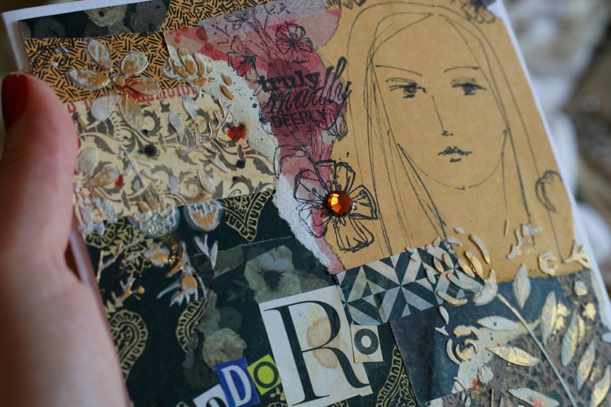 Detalhes de cartão feito com papéis comuns, carimbos, washi tapes e desenho