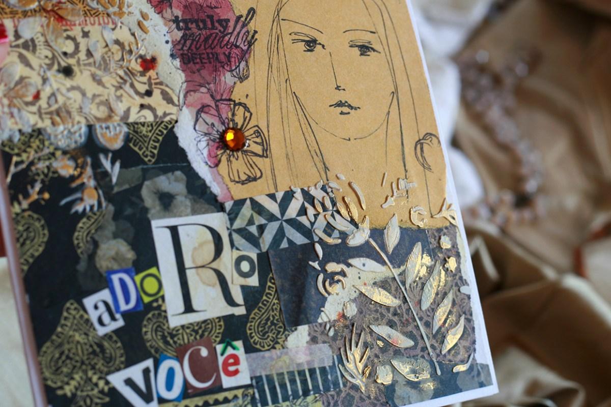 Detalhes de cartão feito por ilapola usando papéis comuns, washi tapes, pasta de modelagem, carimbos e desenho