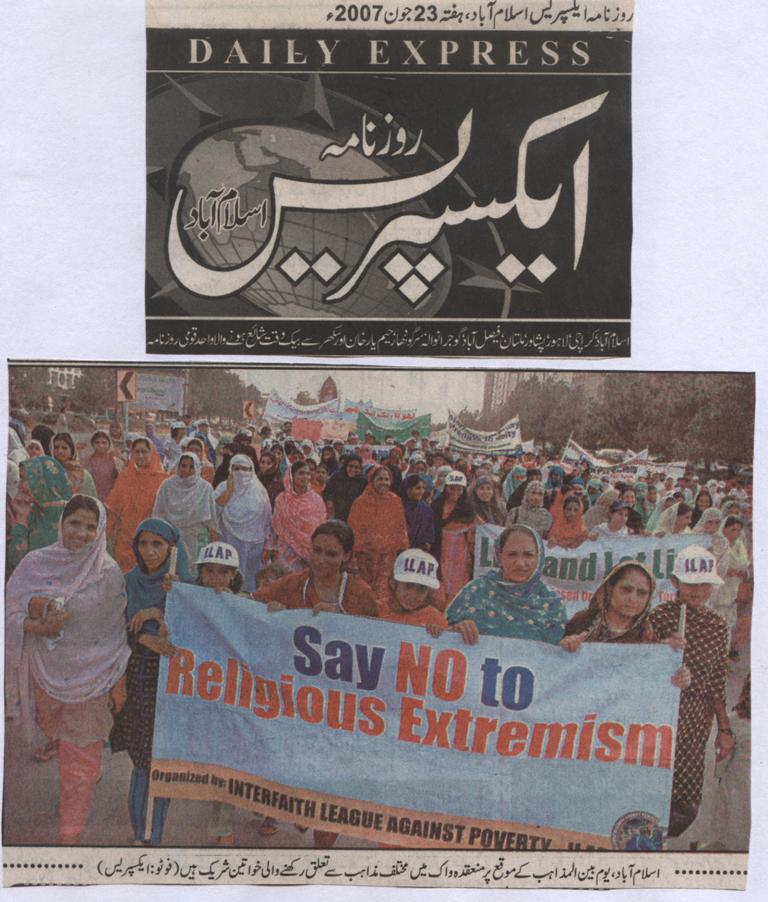 Women participate in a walk organised by the Interfaith League Against Proverty to mark International Interfaith Day