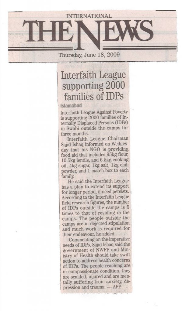 Interfaith League supporting 2000 families of IDPs