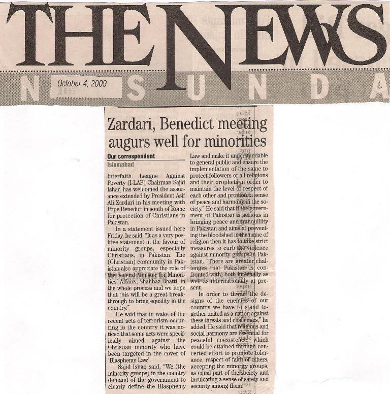 Zardari, Benedict meeting augurs well for minorities