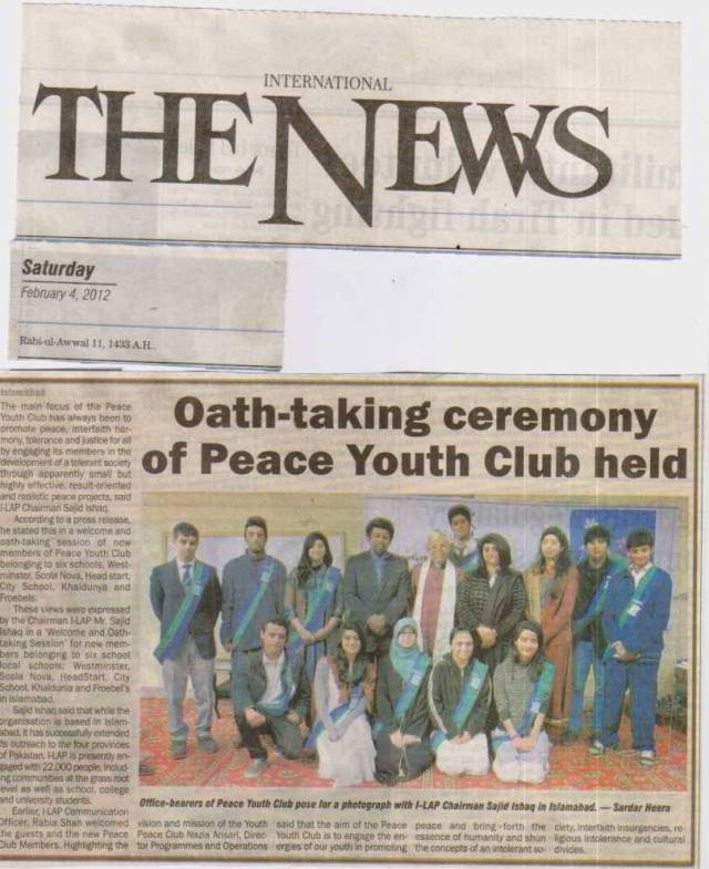 Oath-taking ceremony from Peace Youth Club held