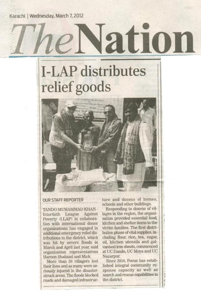 I-LAP distributes relief goods