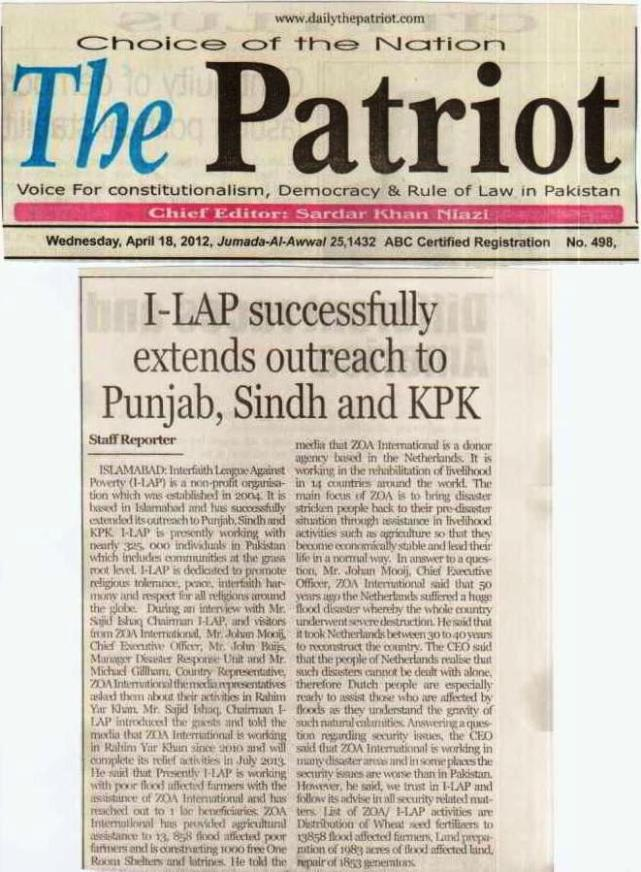 I-LAP successfully extends outreach Punjab, Sindh and KPK